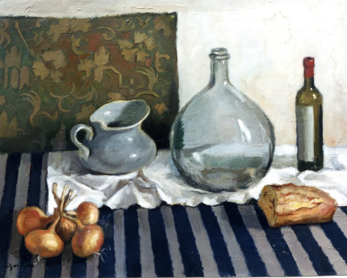 Pierre Cizos-Natou. Nature morte à la cantine, 1956. Collection particulière