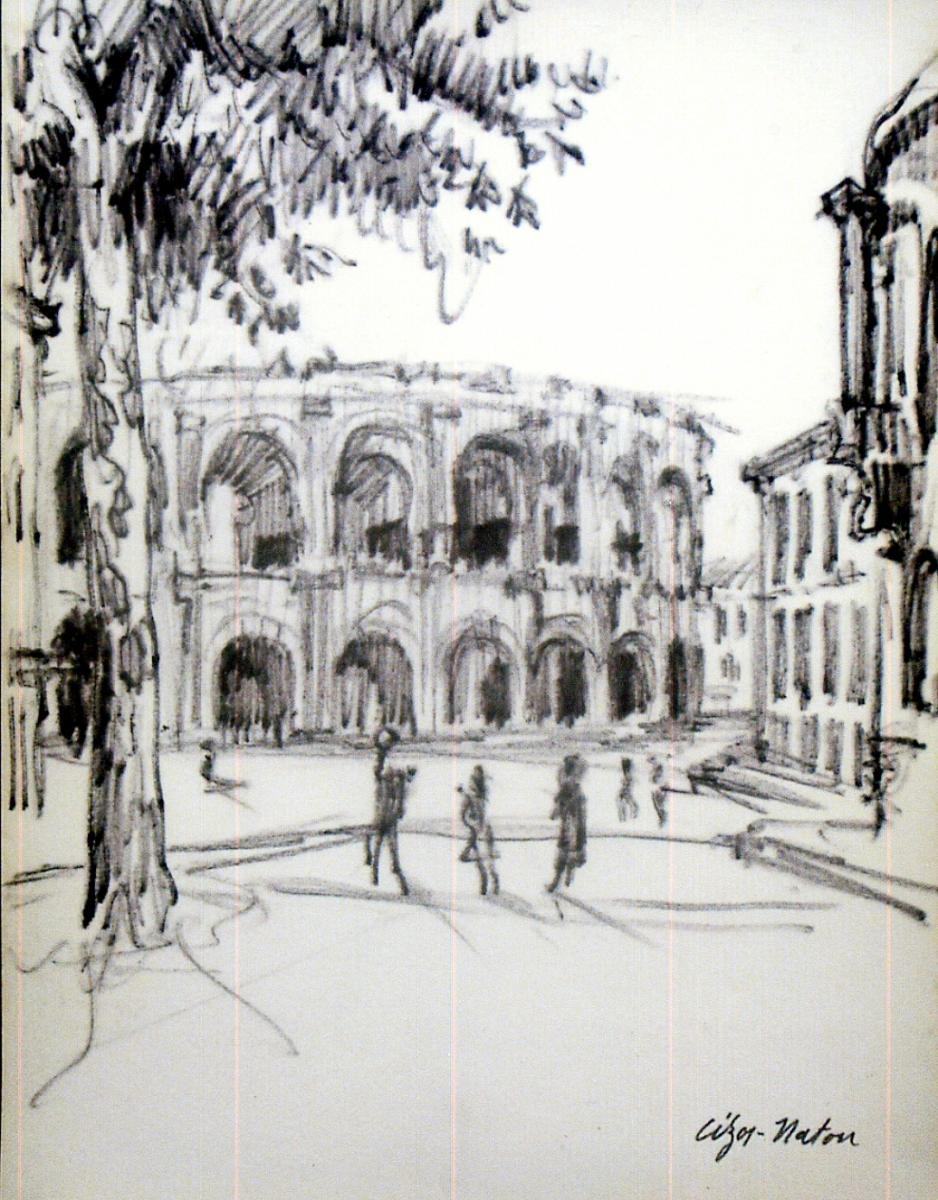 Pierre Cizos-Natou. Arènes de Nîmes. Collection particulière