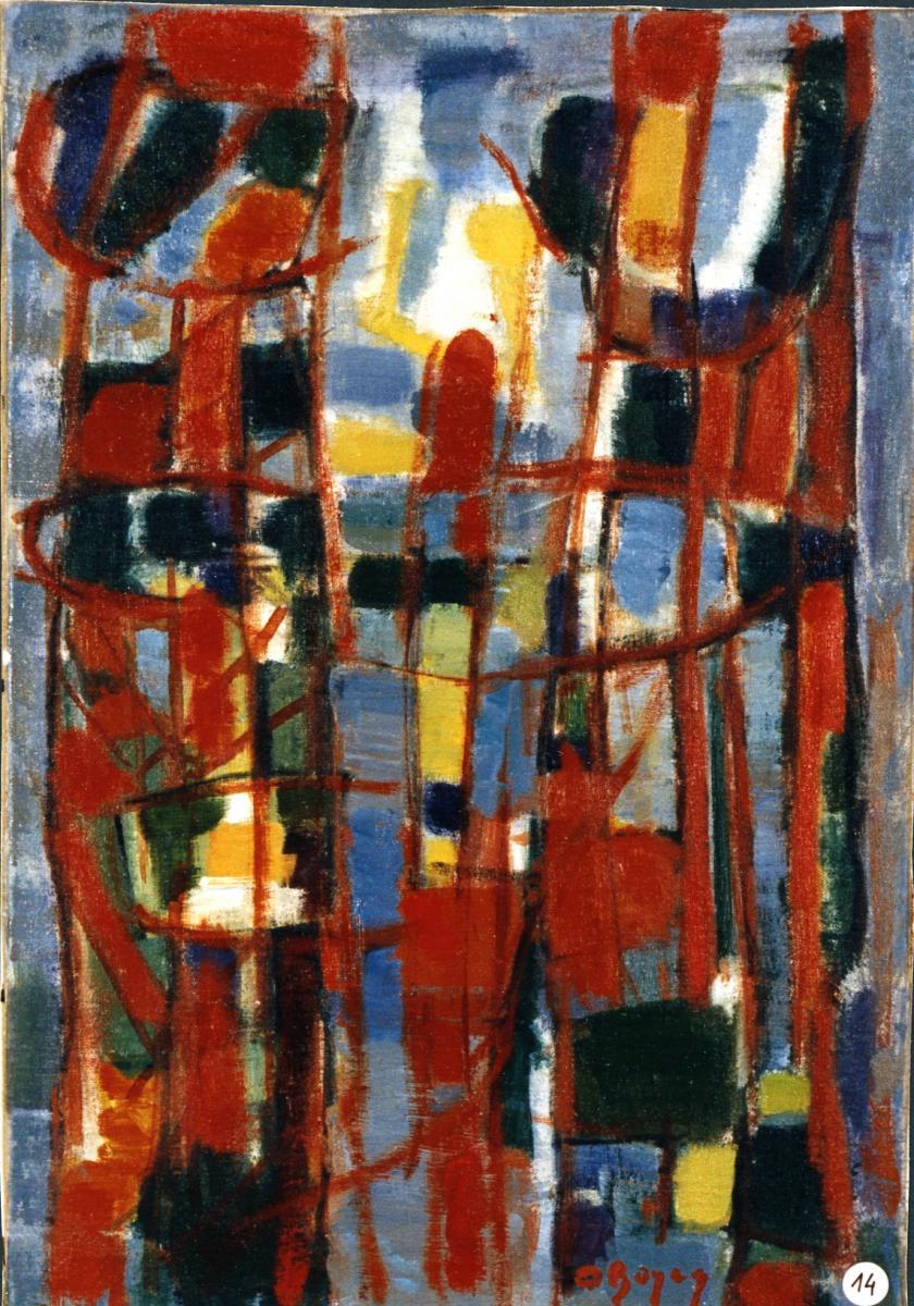 Odette Boyer-Chantoiseau. Arbres dorés, 1957. Collection particulière