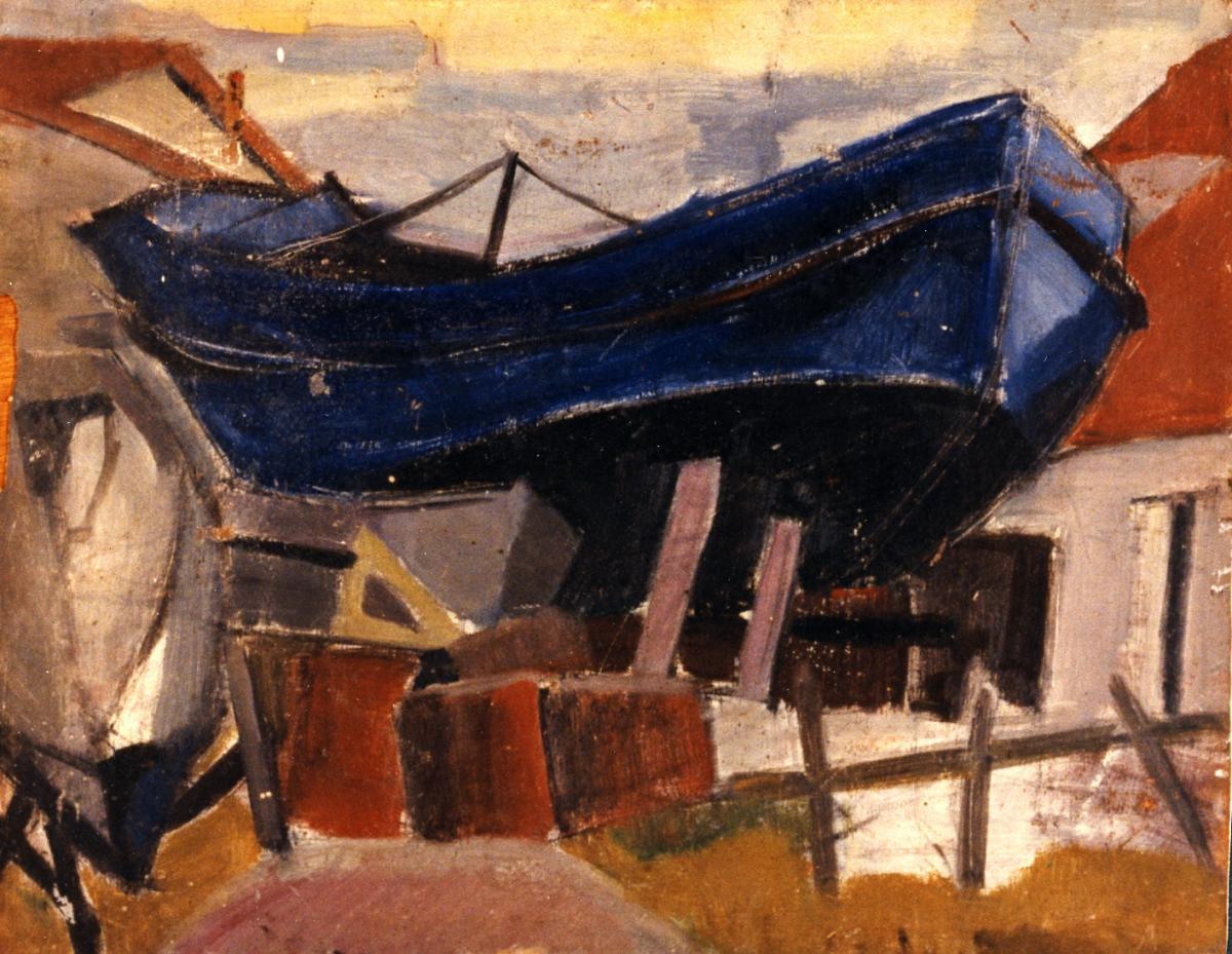 Odette Boyer-Chantoiseau. Bateau sur un ber, 1949. Collection particulière