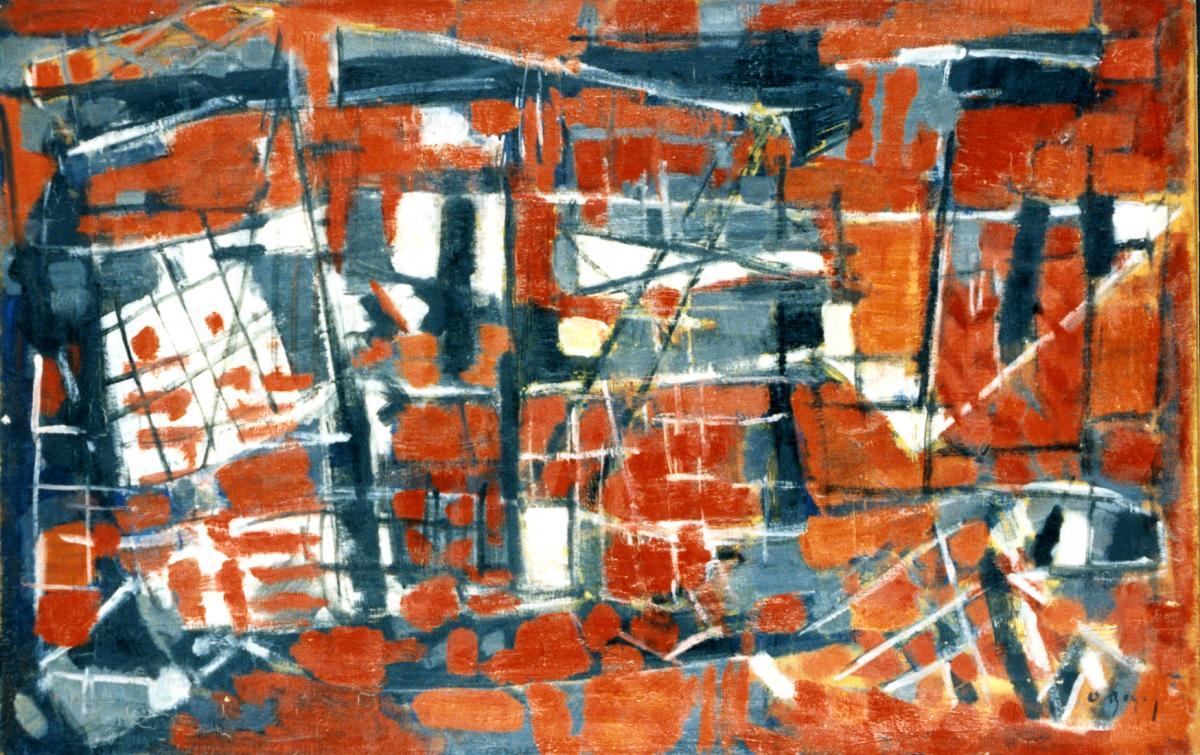 Odette Boyer-Chantoiseau. Les Filets rouges, 1956. Collection particulière