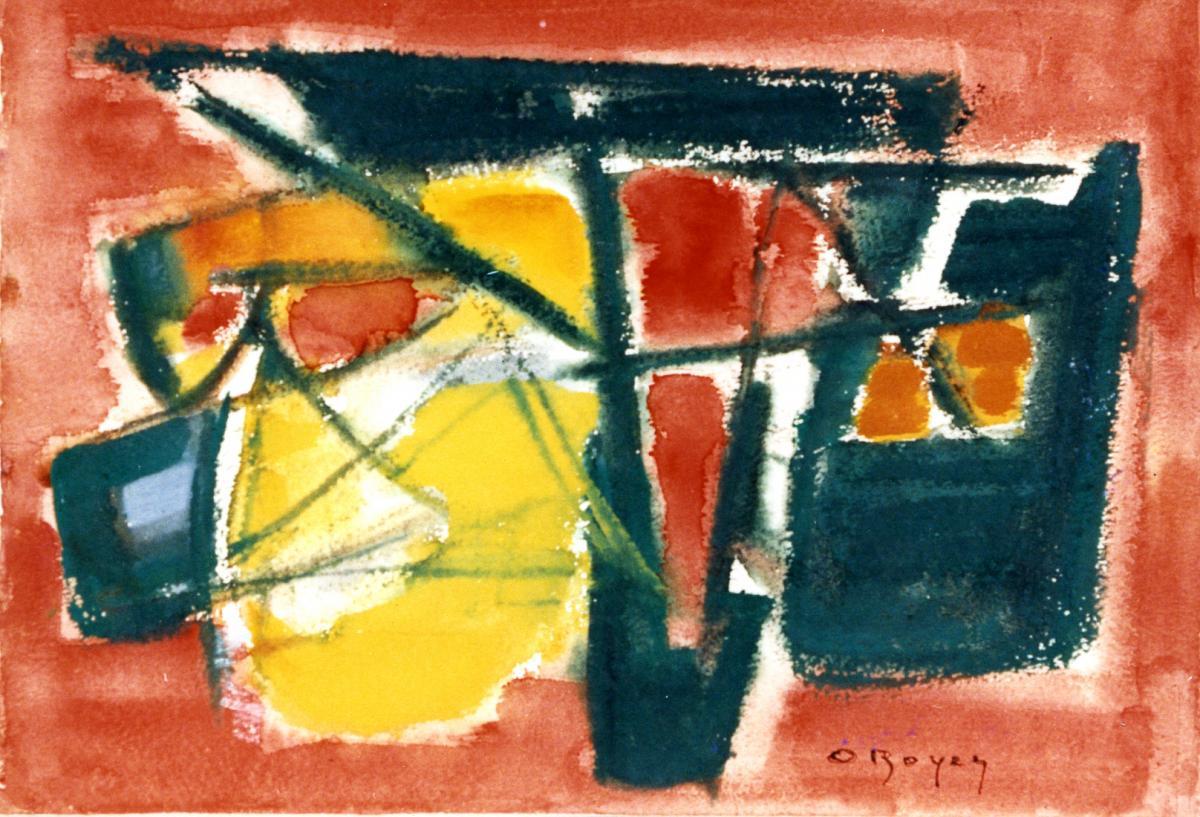 Odette Boyer-Chantoiseau. Les Filets rouges et jaunes, 1956. Collection particulière