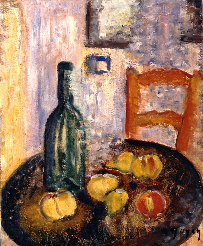 Odette Boyer-Chantoiseau. Nature morte, bouteille et fruits, 1937. Collection particulière