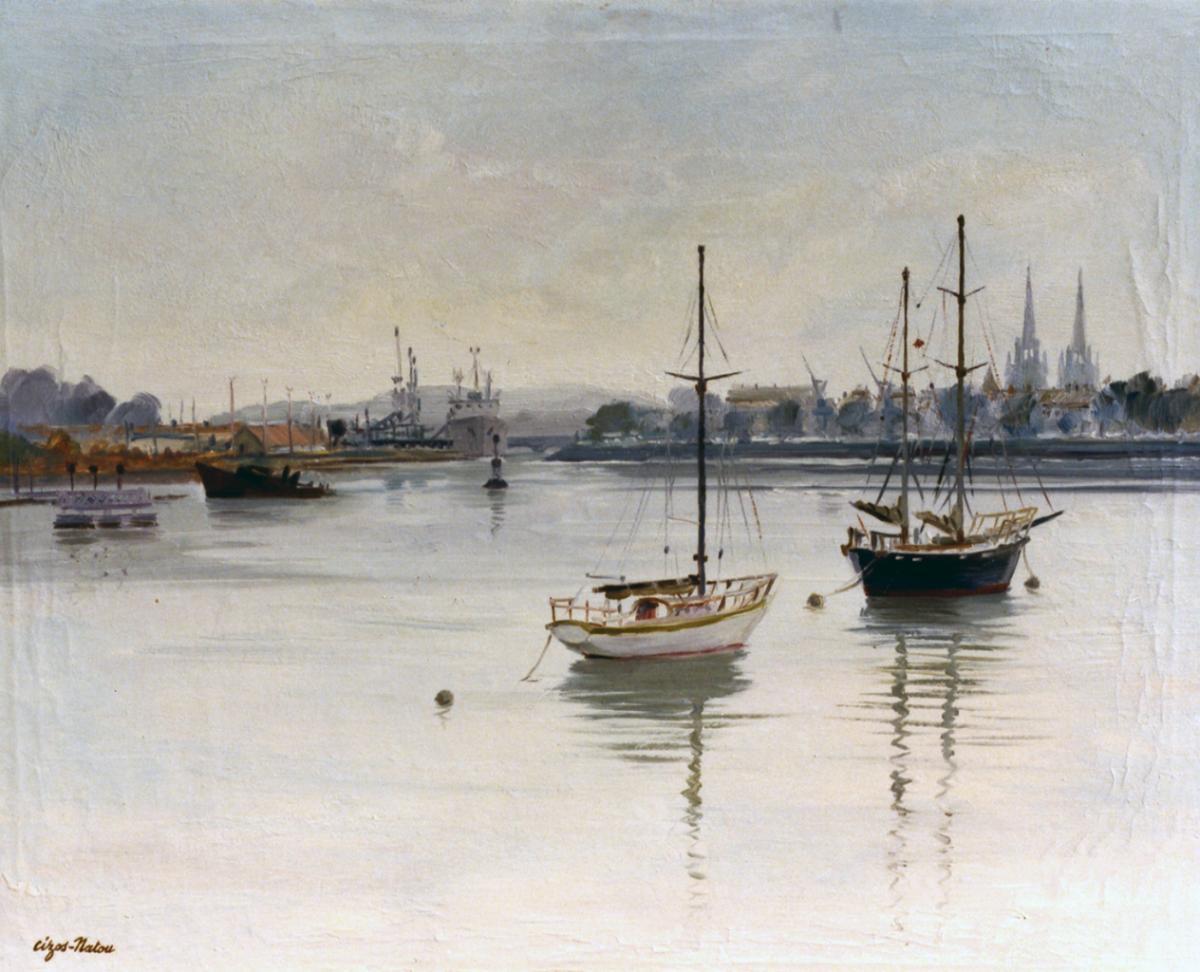 Pierre Cizos-Natou.Port de Bayonne, 1991. Collection particulière