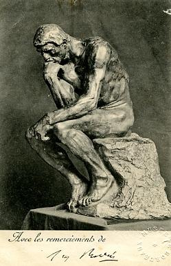 Image : Carte de remerciements signée par Rodin adressée à Gaston Schnegg. Bordeaux, documentation du musée des Beaux-Arts