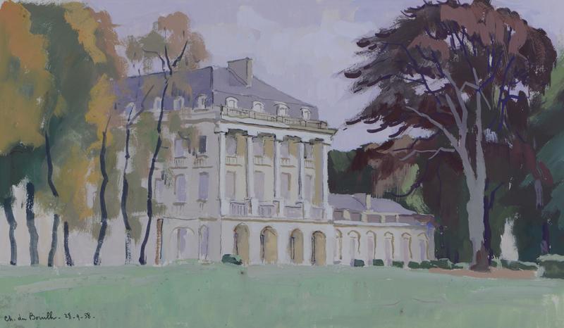 R. RODES, Le Château du Bouilh. Saint-André-de-Cubzac. Gouache, 1958. Collection particulière