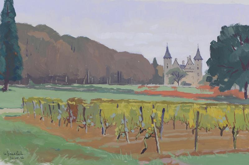 R. RODES, Saint-Germain-du-Puch. Gouache, 1956. Collection particulière
