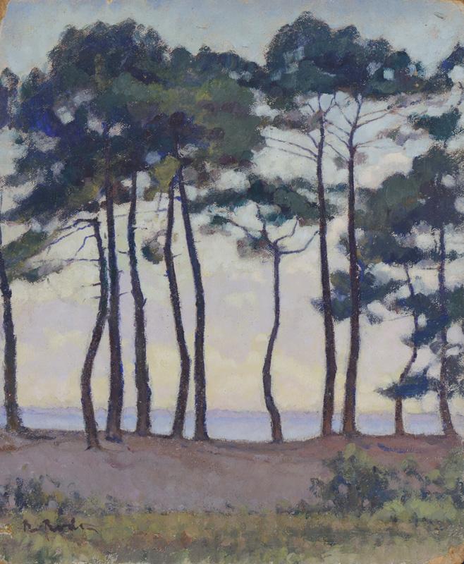 R. RODES, Pins à Fontainevieille. Huile. Taussat. 1946. Collection particulière