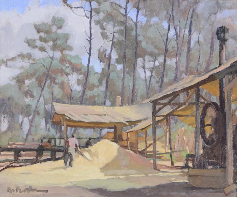 R. RODES, La scierie dans la forêt. Huile. Taussat. 1946. Collection particulière