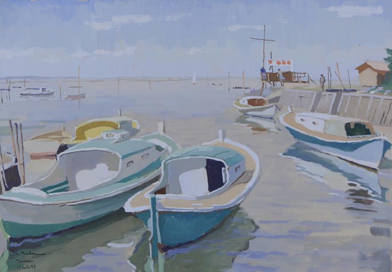 R. RODES, Le port de Taussat. Gouache, 1957. Collection particulière