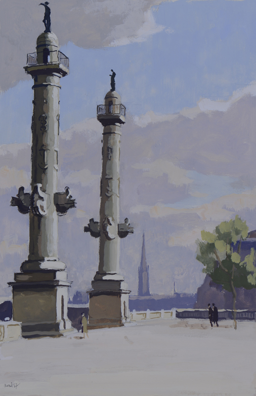 R. RODES, Les colonnes Rostrales. Place des Quinconces, Bordeaux. Gouache, 1956. Collection particulière
