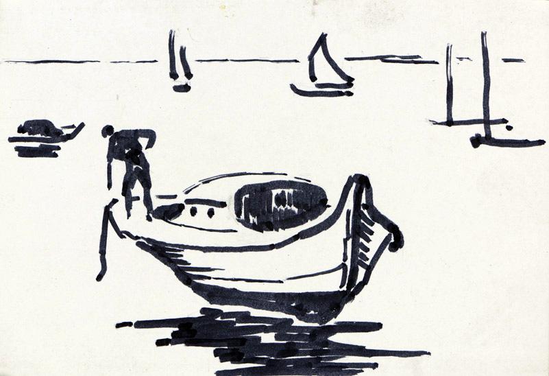 R. RODES, Levée d'ancre sur une pinasse, Bassin d'Arcachon. Encre, 1960. Collection particulière