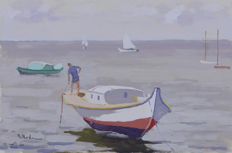 R. RODES, Levée d'ancre sur une pinasse, Bassin d'Arcachon. Gouache, 1960.  Collection particulière