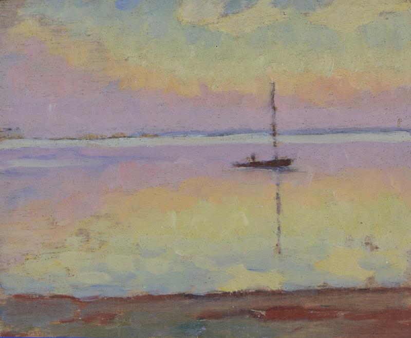 R. RODES, Matin sur le Bassin d'Arcachon. Huile, 1941. Collection particulière