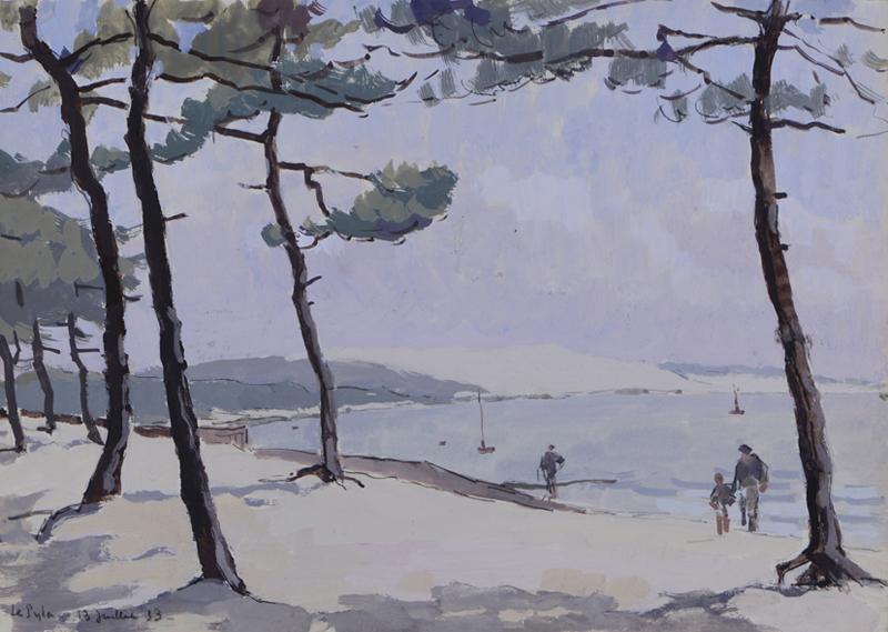 R. RODES, Plage du Moulleau, Bassin d'Arcachon. Gouache, 1953. Collection particulière