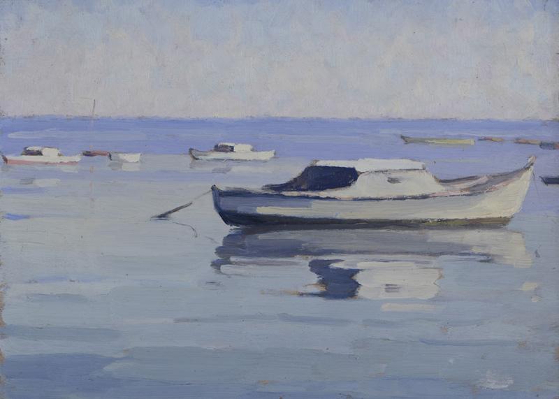 R. RODES, Reflets de pinasses à marée haute. Huile. Taussat. 1946. Collection particulière