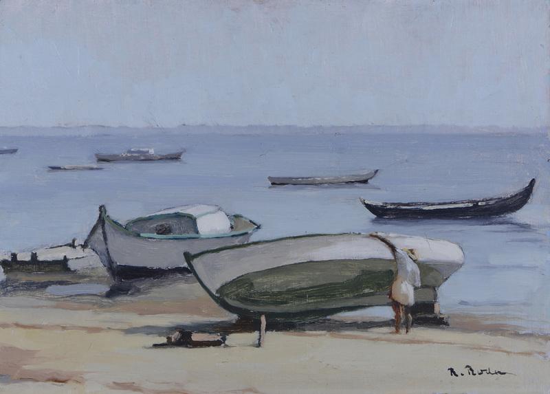 R. RODES, Réparations de barques sur la plage. Bassin d'Arcachon. 1947. Collection particulière
