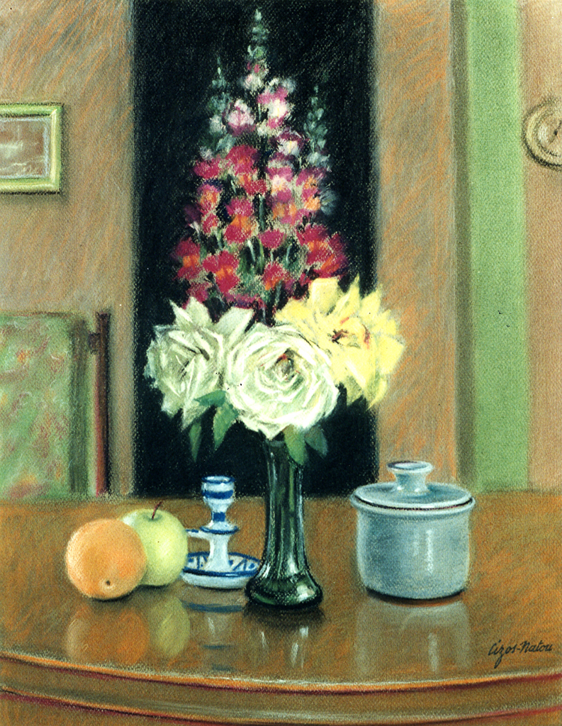 Pierre Cizos-Natou. Roses et mufliers, 1995. Collection particulière