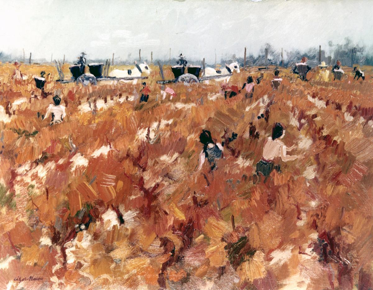 Pierre Cizos-Natou. Vendanges (vignes rouges), 1976. Collection particulière