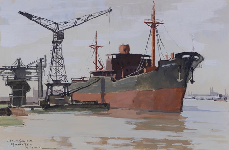 R. RODES, Cargo à quai sur la rive droite, Bordeaux. Gouache, 1955. Collection particulière