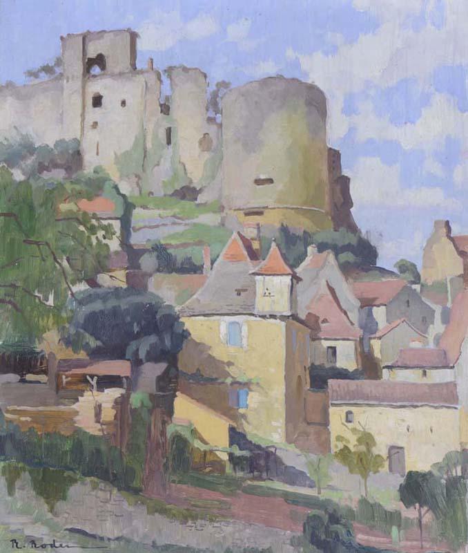 R. RODES, Château de Castelnaud, Castelnaud-la-Chapelle. Huile, 1952. Collection particulière