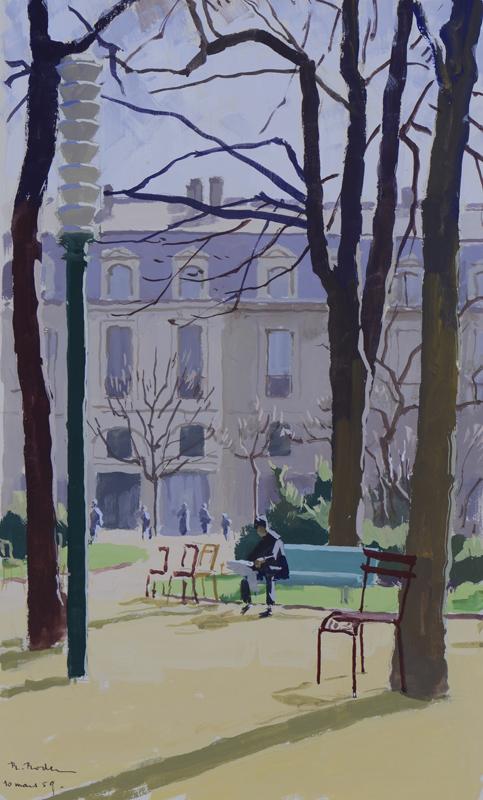 R. RODES, Fin d'hiver au jardin public. Gouache, 1959. Collection particulière