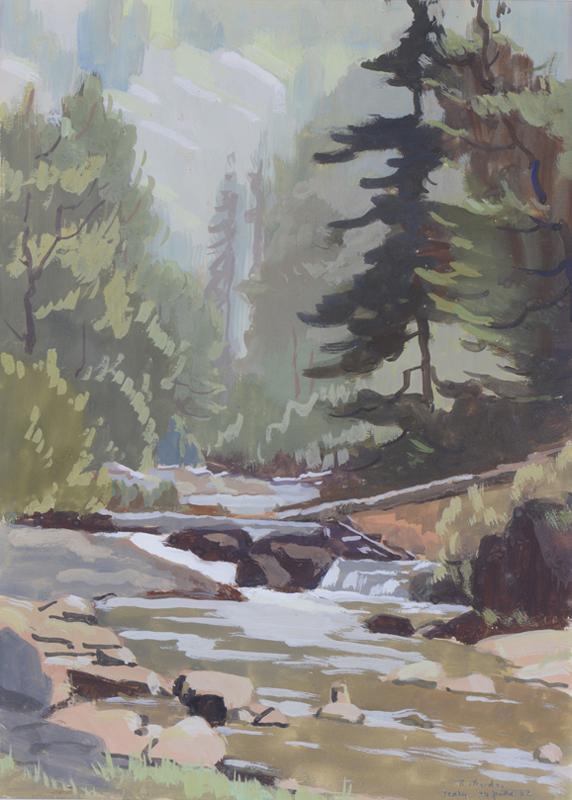 R. RODES, Forêt d'Irraty. Gouache, 1952. Collection particulière