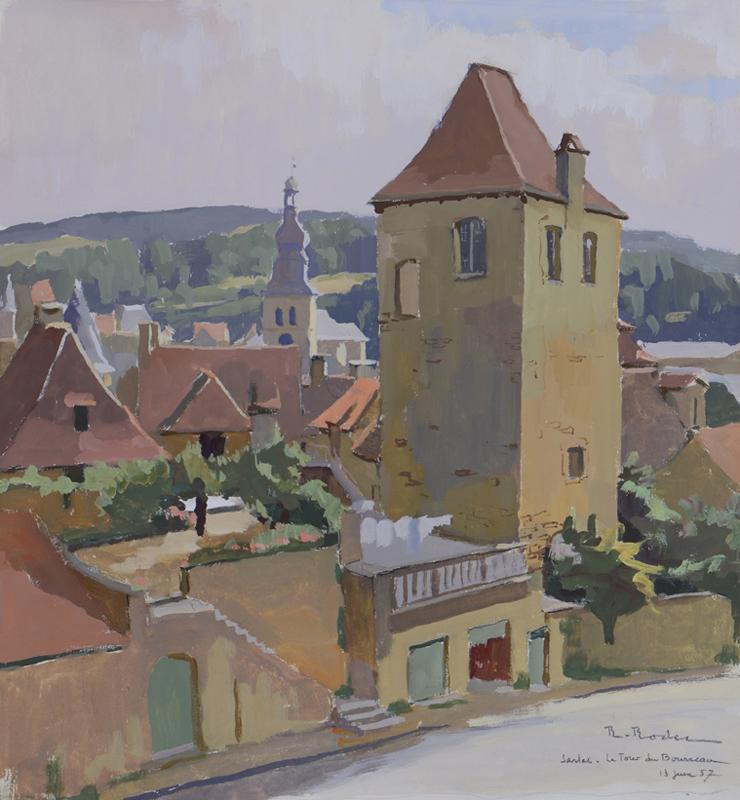 R. RODES, La tour du Bourreau, Sarlat. Gouache, 1958. Collection particulière