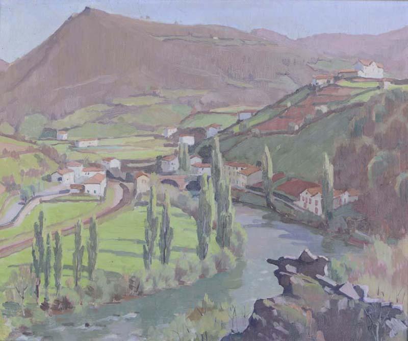 R. RODES, Le rocher de l'aigle, Environs de Bidarray. Huile, 1959. Collection particulière