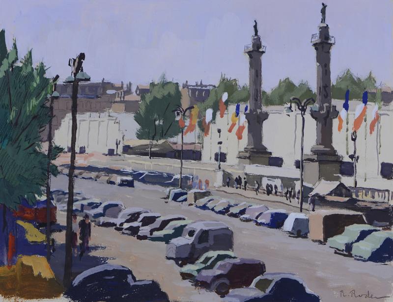 R. RODES, Les quais et les Quinconces lors de la Foire de Bordeaux. Gouache, 1956. Collection particulière
