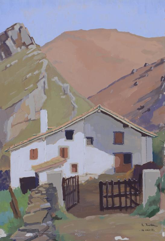 R. RODES, Maison basque d'Igoenia, Bidarray. Gouache, 1959. Collection particulière