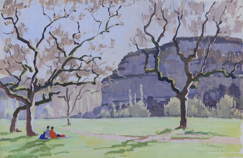 R. RODES, Vallée de la Vézère à Tayac, Les Eyzies. Gouache, 1961. Collection particulière