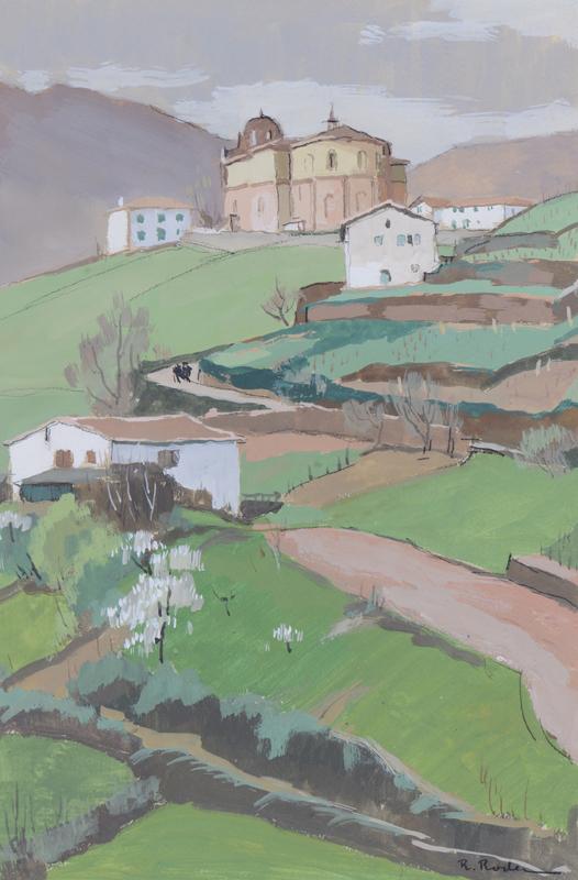 R. RODES, Vue générale de Bidarray. Gouache, 1958. Collection particulière