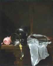 """Image de """"Roses, coupe et timbales avec deux verres sur une table""""© Musée des Beaux-Arts-mairie de Bordeaux. Cliché L. Gauthier"""