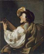 """Image de """"Un chanteur s'accompagnant au luth""""©Musée des Beaux-Arts-mairie de Bordeaux. Cliché L. Gauthier"""