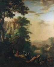 """Image de """"Paysage fluvial avec saint Philippe baptisant l'eunuque de la reine Candace""""© Musée des Beaux-Arts-mairie de Bordeaux. Cliché L. Gauthier"""