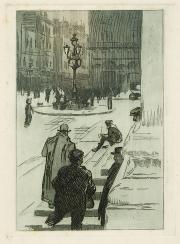Image : Robert Caumont, Sur les marches du Grand Théâtre. Eau-forte et aquatinte, 1913-1914. Bordeaux, musée des Beaux-Arts. Photo Frédéric Deval