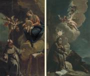 """Image de """"Apparition de la Vierge à saint Antoine de Padoue"""" et """"Saint François de Paule avec un frère""""© Musée des Beaux-Arts-mairie de Bordeaux. Cliché L. Gauthier"""