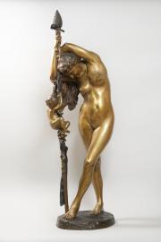 Jean-Léon Gérôme, Bacchante au thyrse, accompagnée d'un Amour, 1892, bronze, patine dorée et brune, achat en vente publique, Bordeaux, avril 2019
