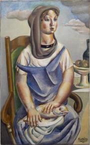 La jeune fille au poisson, bissière, 1920. droits ADAGP. Cliché F. Deval