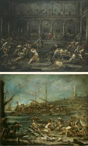 """Image de """"Arrivée et interrogatoire des galériens dans la prison de Gênes"""" et """"Embarquement des galériens dans le port de Gênes""""© Musée des Beaux-Arts-mairie de Bordeaux. Cliché L. Gauthier"""