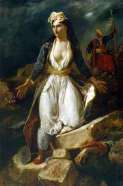 """""""La Grèce sur les ruines de Missolonghi"""", 1826. Eugène Delacroix."""
