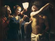Saint Sébastien soigné par Irène. Maître à la Chandelle