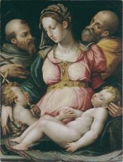 """""""Sainte Famille avec saint Jean Baptiste et saint François d'Assise"""". Giorgio Vasari (atelier de)"""