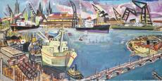 François Desnoyer, Le Port de Bordeaux, 1952, huile sur toile © Bordeaux, musée des Beaux-Arts