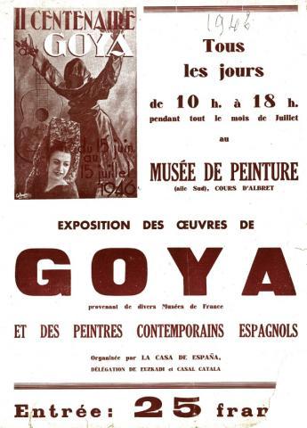 Image de l'affiche de l'exposition Goya de 1946 à Bordeaux