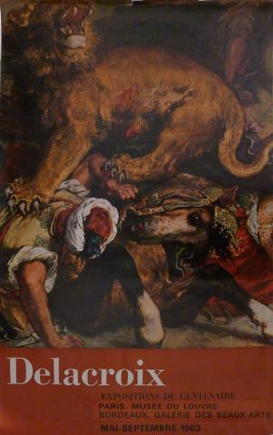 Affiche de l'exposition de 1963 Delacroix : ses maîtres, ses amis, ses élèves