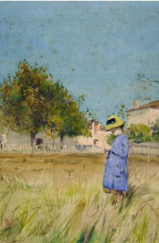 Image de Petite fille en bleu, (détail) par Etienne Mariol. Aquarelle. collection particulière. Photo (c) Mairie de Bordeaux.Fontanel
