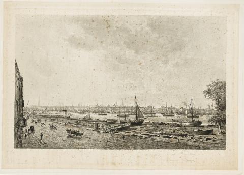 Image : Maxime Lalanne, Le Port de Bordeaux vu de la rive droite, lithographie, 1882