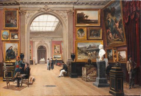 """Image de """"Une vue du Musée de Bordeaux"""", oeuvre présentée au Salon des amis des arts de Bordeaux"""", par Casimir Victor Paul en 1891"""